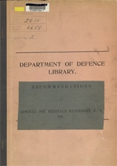 Recommendations of Admiral Sir Reginald Henderson cover image.