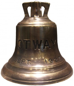 HMAS Otway's ship's bell now on display at the Naval Heritage Centre in Sydney.