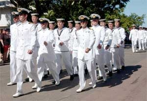HMAS Coonawarra undertaking a Freedom of Entry march.