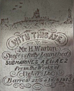 The inscription commemorating the launch of the RAN's first submarines. (Tony Todd collection)