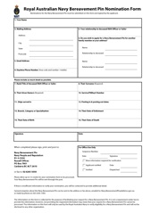 Navy Bereavement Pin application form.