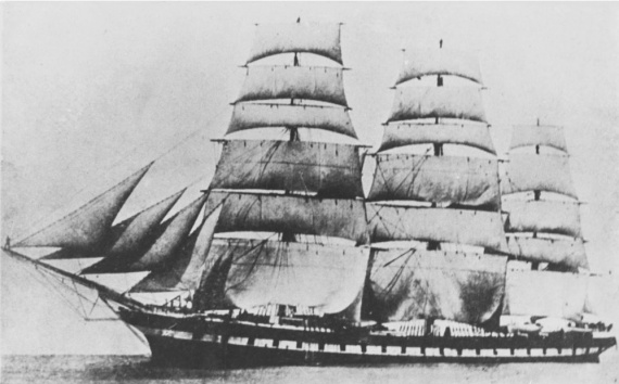 The clipper ship Sobraon under full sail in her heyday