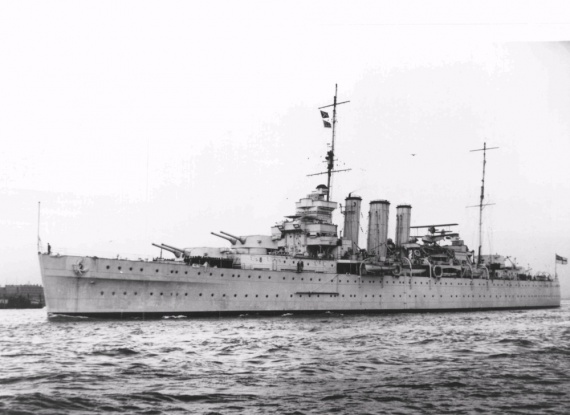 HMS Shropshire prior to her transfer to the RAN