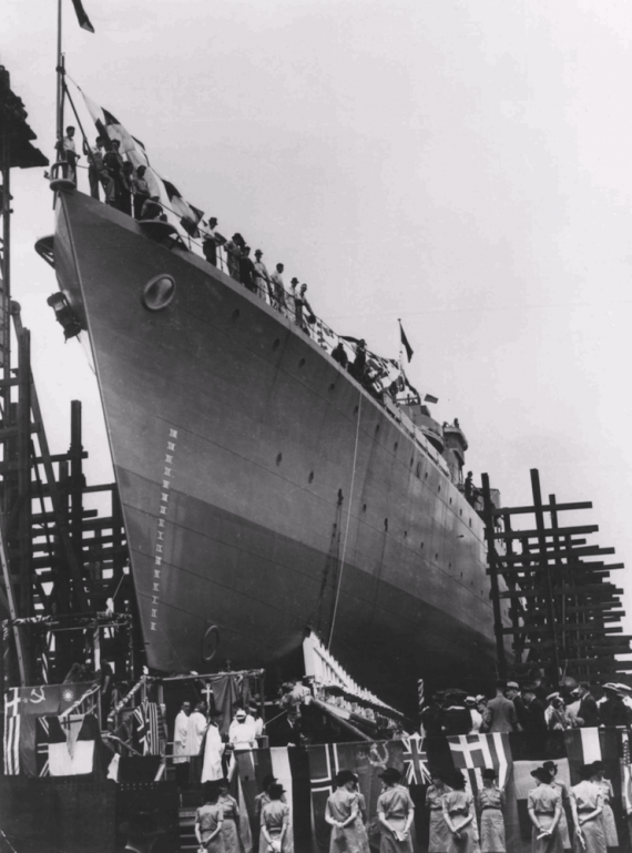 HMAS Bataan on the day of her launching, 15 January 1944.