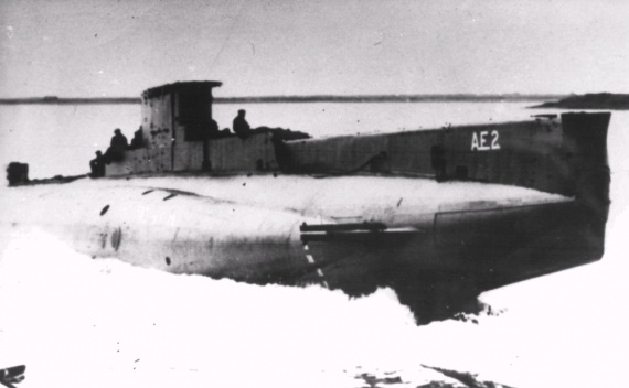AE2 takes to the water for the first time in the Vickers Yard, Barrow-in-Furness, 18 June 1913