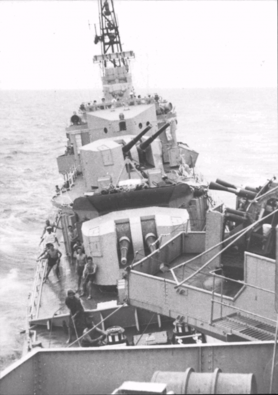 HMAS Bataan following collision with HMAS Vengeance