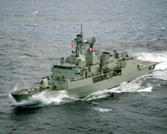 Aerial photograph of HMAS Anzac sailing near La Reunion during the NORTHERN TRIDENT 2005 deployment.