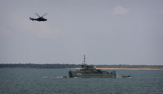 HMAS Mermaid exercises force protection tactics during Minor War Vessel Fleet Concentration Period 2011.