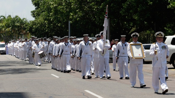 The Royal Australian Navy and HMAS Coonawarra march down The Esplanade during their Freedom of Entry to the city of Darwin parade, 2013.