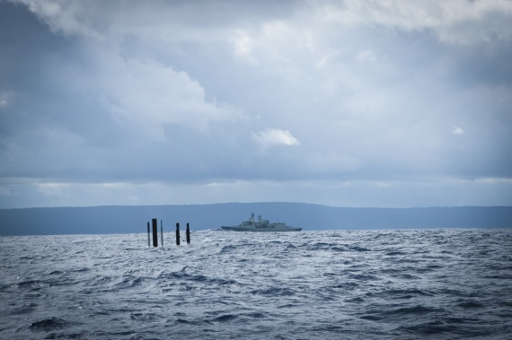 Anzac class frigate, HMAS Stuart, tracks Collins class submarine, HMAS Sheean, as she sails past Christmas Island on return to her home port of Fleet Base West.
