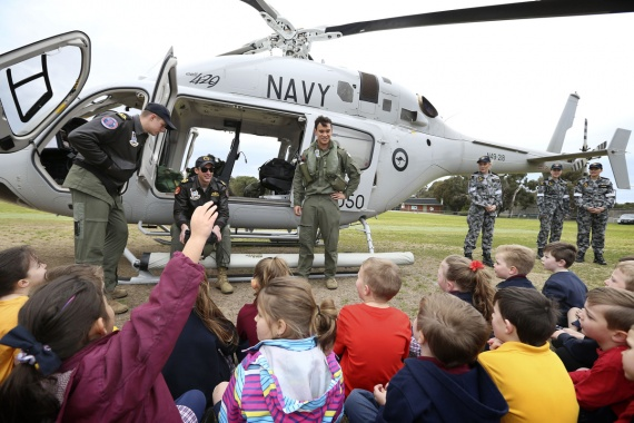 723 Squadron personnel field questions from students of Crib Point Primary School, Victoria.