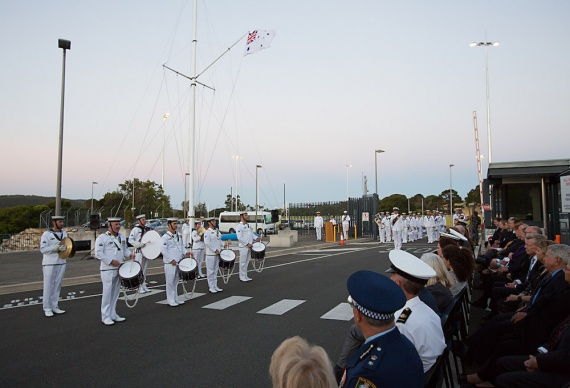The Royal Australian Navy Band Sydney perform for guests during a ceremonial sunset held at HMAS Penguin.