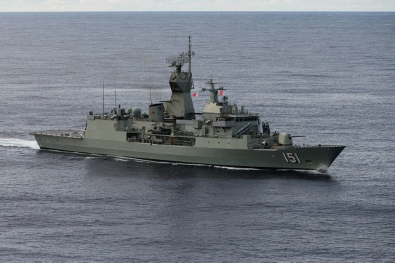 HMAS Arunta on transit to the Middle Eastern Region in November 2016.
