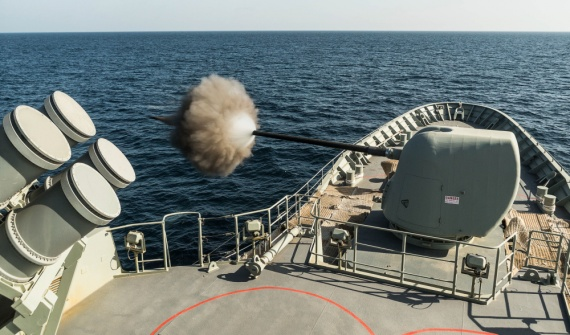 HMAS Arunta conducts a 5 inch gun practise firing while at sea in the Middle East Region during Rotation 64.