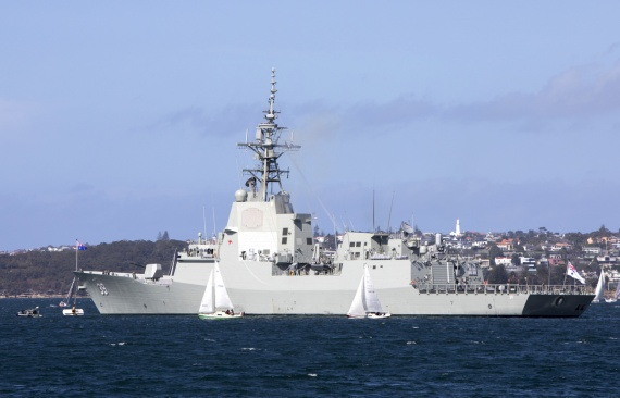 HMAS Hobart in Sydney Harbour prior to departing for her Mariner Skills Evaluation period.