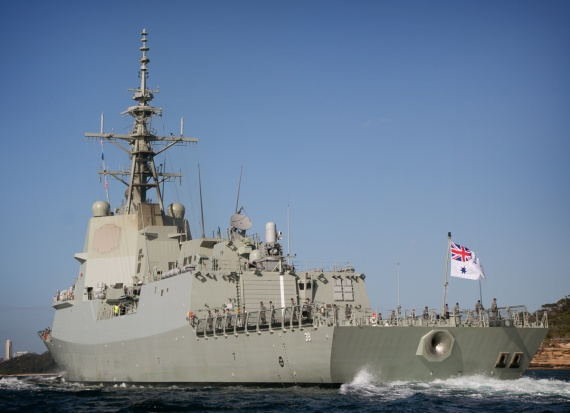 HMAS Hobart sails into Sydney Harbour on completion of her Mariner Skills Evaluation period.