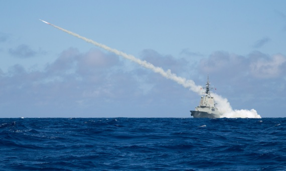 Air Warfare Destroyer HMAS Hobart successfully fires a Harpoon Blast Test Vehicle in the East Australian Exercise Area.