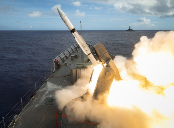 HMAS Melbourne fires a Standard Missile 2 from its Guided Missile Launching System during RIMPAC 2018.
