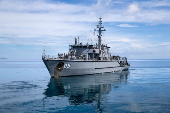 HMAS Gascoyne leaves Tuvalu on the completion of its engagement with the Funafuti community as a part of Task Group 637.1.