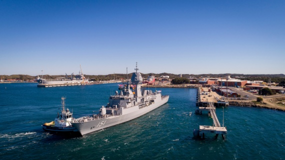 HMAS Arunta returns to Fleet Base West after completing the Anzac Mid-life Capability Assurance Program upgrade at Henderson Shipyards in Western Australia.