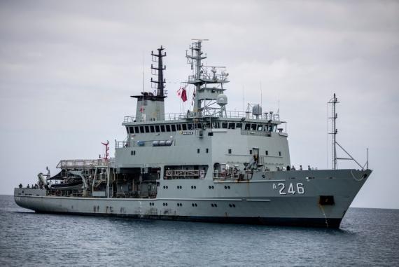 Leeuwin Class survey ship HMAS Melville sails towards Queen Salote Wharf in Nukuʻalofa, Tonga.