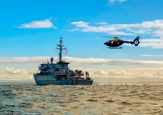 HMAS Gascoyne at sea conducting Aviation operations during her Unit Readiness Evaluation off the coast of New South Wales.