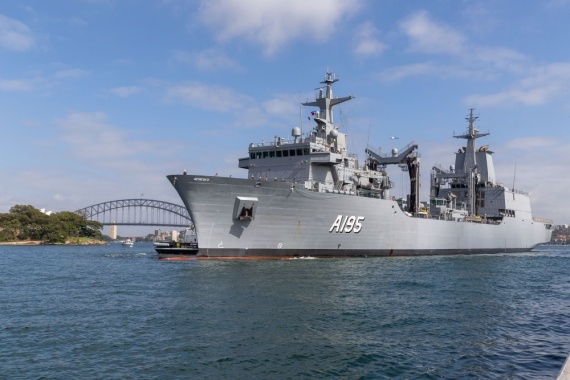 NUSHIP Supply arrives at her home port for the first time, at Fleet Base East, Sydney.