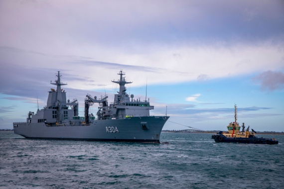 Auxiliary Oiler Replenisher NUSHIP Stalwart arrives at Fleet Base West in Western Australia for the first time.