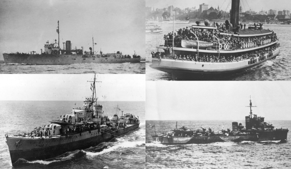 (clockwise from top left): HMA Ships Armidale, Kuttabul, Nestor, and Vampire.