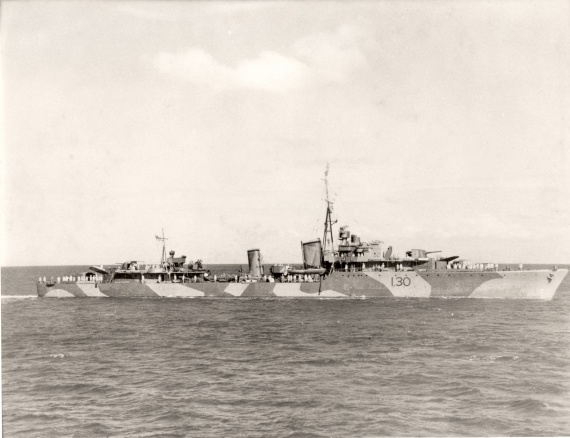 HMAS Arunta wearing her wartime disruptive camouflage paint scheme and original pennant number - I30