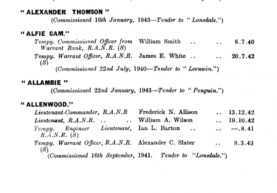 HMAS Alexander Thompson first appeared in the April 1943 edition of the Navy List: https://www.navy.gov.au/sites/default/files/documents/Navy_List-April-1943.pdf
