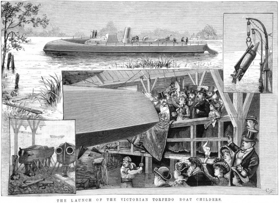Artwork by David Syme and Co, depicting the launching of Childers. (State Library of Victoria)