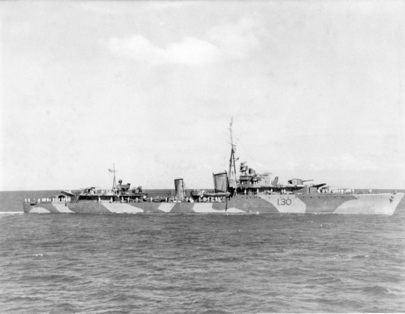 HMAS Arunta wearing her wartime disruptive camouflage paint scheme and original pennant number - I30.