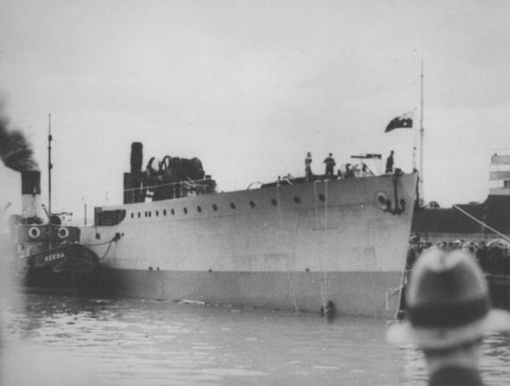 HMAS Ballarat (I) following her launching.