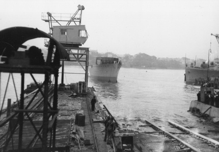 HMAS Bathurst takes to the water for the first time at Cockatoo Island Dockyard on 1 August 1940.