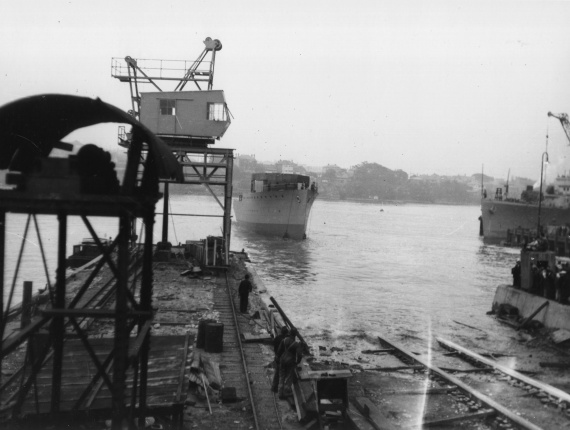 HMAS Bathurst being launched at Cockatoo Island Dockyard on 1 August 1940