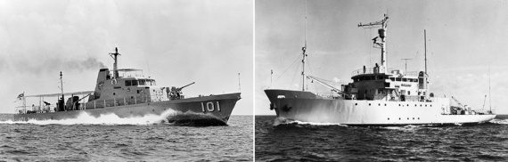 Left: HMAS Bayonet. Right: HMAS Flinders