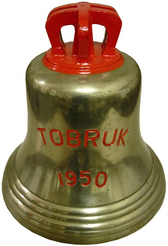 HMAS Tobruk's ship's bell now on display at the Naval Heritage Centre in Sydney.