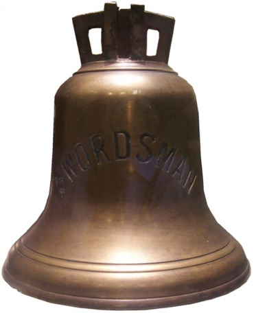 HMAS Swordsman's ship's bell now on display at the Naval Heritage Centre in Sydney.