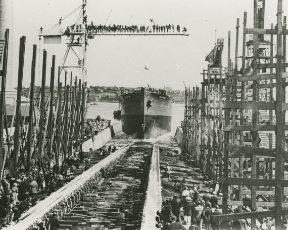 HMAS Biloela being launched at Cockatoo Island Dockyard on 10 April 1919