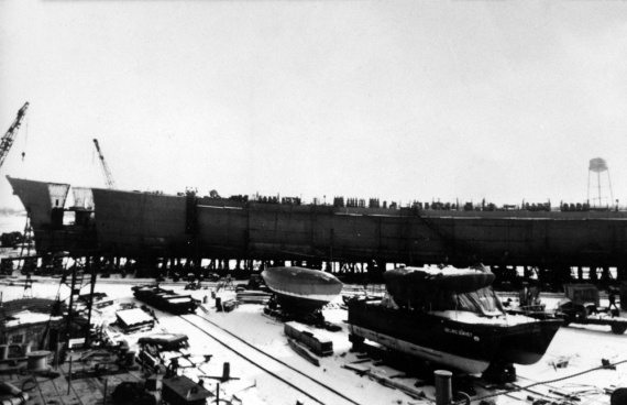 Brisbane taking shape at the Defoe Shipbuilding Company, Bay City, Michigan.