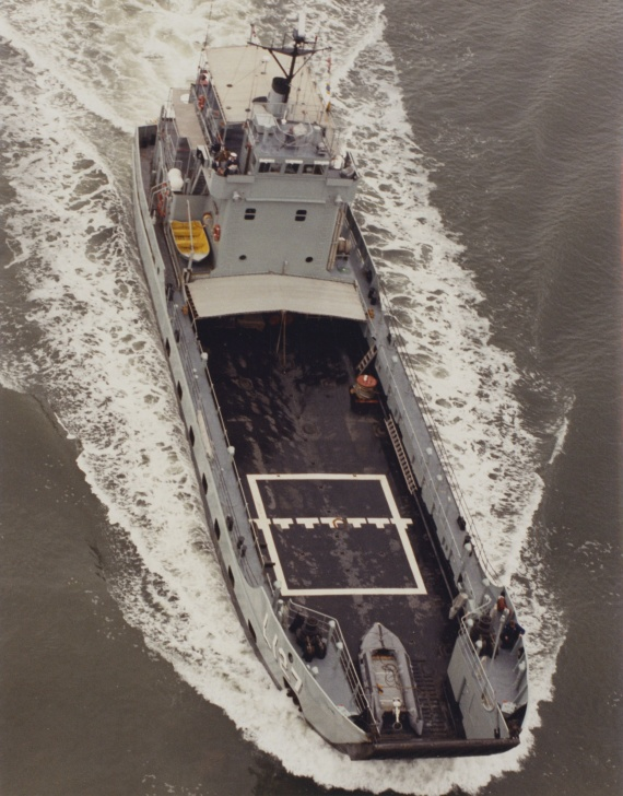 A birds eye view of HMAS Brunei's tank deck
