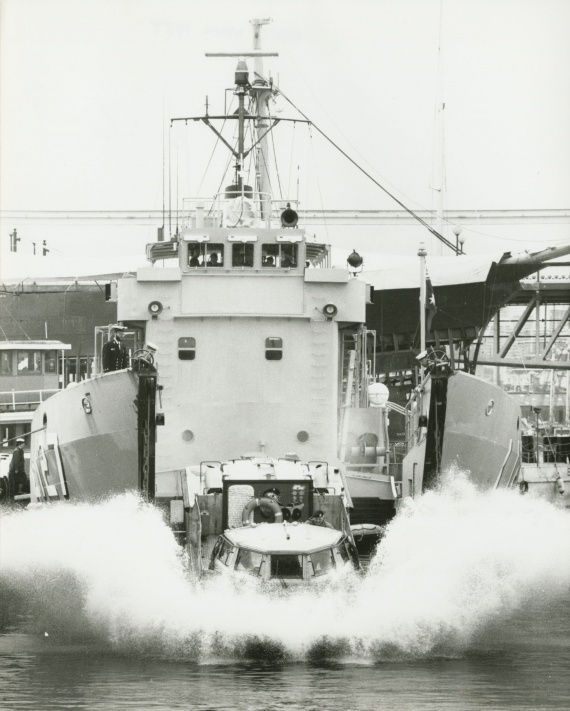 HMAS Brunei launching a LARC V (Lighter Amphibious Resupply Cargo) during Navy Week 1989