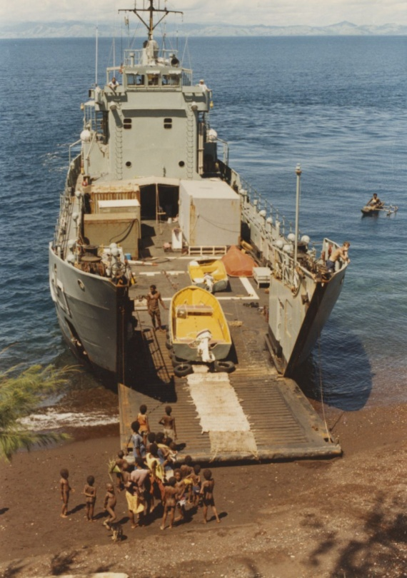 HMAS Brunei providing survey support at Manam Island, PNG, July 1988