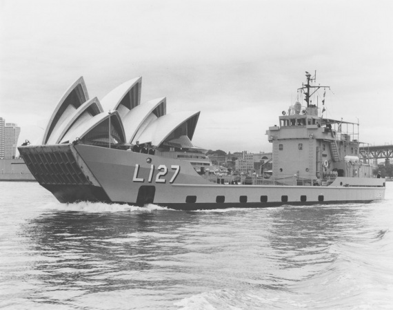 HMAS Brunei in Sydney for trials and exercises, 19 January 1973.