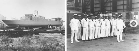 Left: HMAS Bunbury prior to launching. Right: The commissioning crew of HMAS Bunbury (II), 15 December 1984.