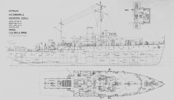 The general arrangement plan of a Bathurst class corvette