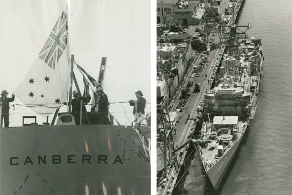 Left: The Australian White Ensign is temporarily hoisted on the occasion of Canberra's launching. Right: Canberra fitting out in Seattle.