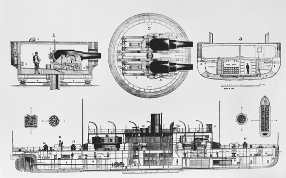 A general arrangement plan showing the layout of the monitor and her armament