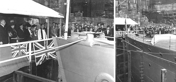 The official launching party watch on as the dock valves are opened and the ship floated for the first time. (L: AWM 009439, R: AWM 009438).